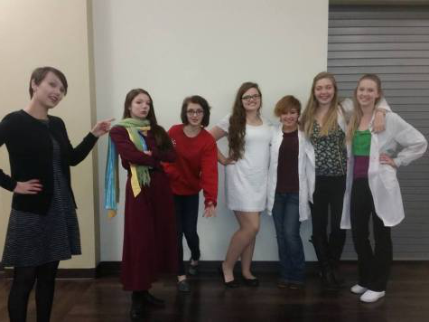 "High School (non) Musical cast members promote their show 通过 wearing costumes to school. Meridian Drama Club will perform their fall comedy on November 14 & 15 @ 7 p.m. The play will take place at Decatur First Church of the Nazarene, 1177 W. Hickory Point Rd., Decatur (as the high school does not currently have a stage). Amy Aukamp, who has three roles in the show and plays basketball, states, ""it"