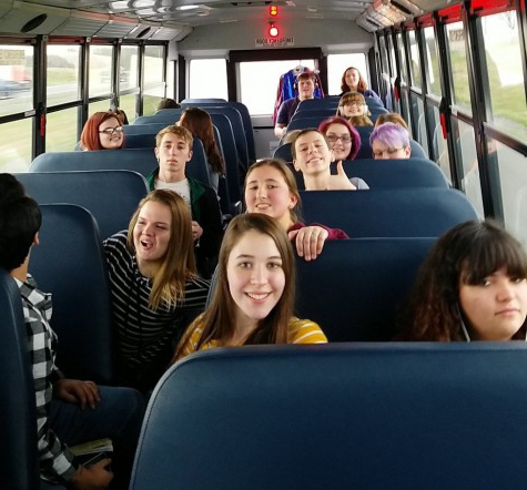 "Two hours later... The Drama Club piled into the Meridian school bus to compete at the Drama Sectionals. The students would arrive at Belleville West High School after a two hour long bus ride. Junior Andrea Ricker says, ""We listened to showtunes throughout the ride."""