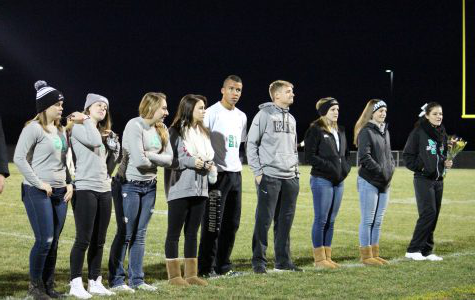 Seniors 2017. Senior athletes line up on the field for senior night. This was quite the emotional night for some. Senior Zach Habermaas stated it was tough leaving the sport behind.