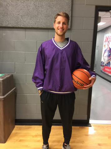 "Shel通过ville gains a great teacher starting next year. Tim McElroy is rocking his new purple gear, gift from cooperating teacher Denna Williams. ""Excited for the opportunity...[I] want to be a positive role model,"" says McElroy."