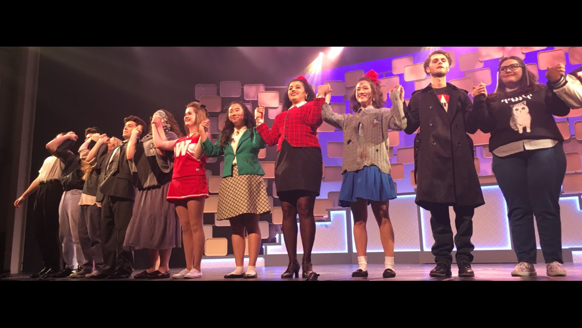 Big+fun.+The+cast+of+Heathers%3A+The+Musical+gathers+for+bows+after+a+successful+last+rehearsal+before+opening+night.+The+fun+show+also+has+a+serious+theme+to+take+away+from+it.+Heather+Banks+%28Veronica+Sawyer%29+suggests+audience+members+should+keep+the+lyrics+%22let+us+be+seventeen%22+in+mind+and+%22live+in+the+present+moment+and+enjoy+what+life+has+in+store+for+you.%22
