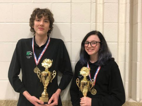 "Madison Sapp and Sam VonBehren. ""Last year, as a junior, Sam placed 3rd in English at regionals and his scores helped our team finish 4th in the state in our division. This year, Sam was a double medalist at regionals, placing 3rd in Math and 1st in English,"" said Ms. Rude."