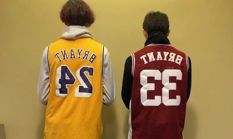In remembrance, Tyler Ward and Gage Wiseman stand together in their Kobe Bryant jerseys.