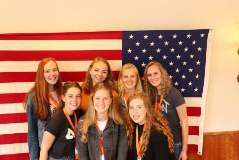 The seven girls in this picture are exchange students who came to America this year. However, with the COVID-19 virus, two of them decided to go home.