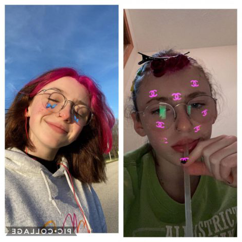 "Madison Sapp sports a hair style she has never tried before. While in quarantine, she dyed her own hair for the first time. ""I dyed the front pieces of my hair pink, and I think the bleach may have given my forehead a small chemical burn, but I"