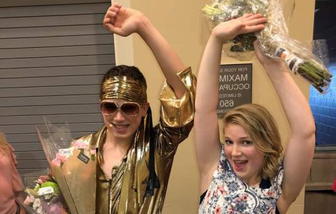 "荷莉门 and Keagan Kantor celebrate their performance after Mamma Mia. ""I"