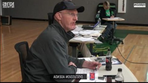 Screenshot taken 通过 Victoria Muller from a School Board  Meeting at Meridian High School, in May 2020 from the NFHS network.  A presenter showed the new Agricultural program his project to the School Board members on the left. On the right, a picture of the  president of the School Board, Chris Jones.